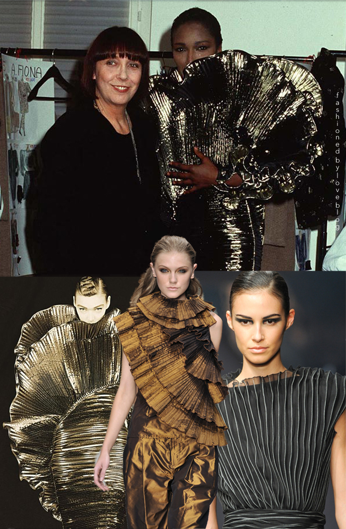 Krizia Pleats in 1988, on a runway at Krizia Spring/Summer 2009 & Krizia Fall/Winter 2013, Mariuccia Mandelli backstage in 1987 via Io Donna / Mariuccia Mandelli biography via www.fashionedbylove.co.uk
