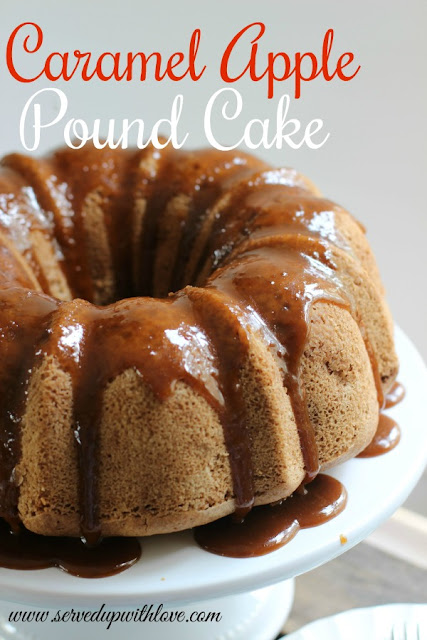 Caramel Apple Pound Cake recipe from Served Up With Love will be a hit with the ones you love. Filled with all the fall flavors you love with a scrumptious caramel glaze.