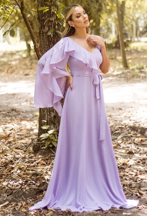 vestido esvoaçante lavanda