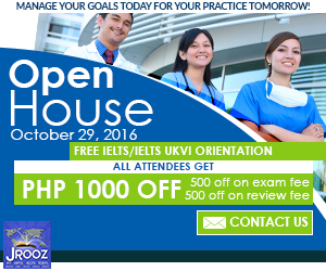 JROOZ FREE IELTS/IELTS UKVI Open House. Join us on October 29, 2016. Know the basics of IELTS and IELTS UKVI. GET 1000 OFF!