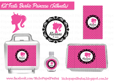 kit festa barbie silhoueta pink preto