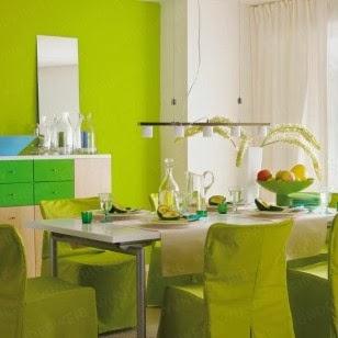 decoración de comedor verde