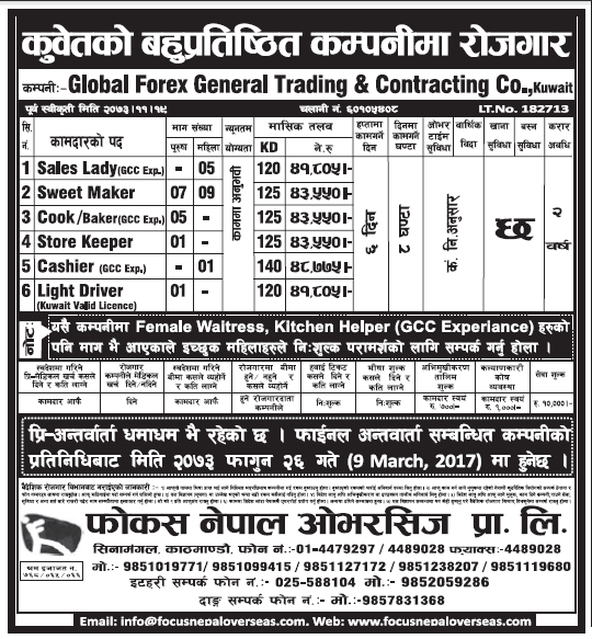 Jobs in Kuwait for Nepali, Salary Rs 43,550