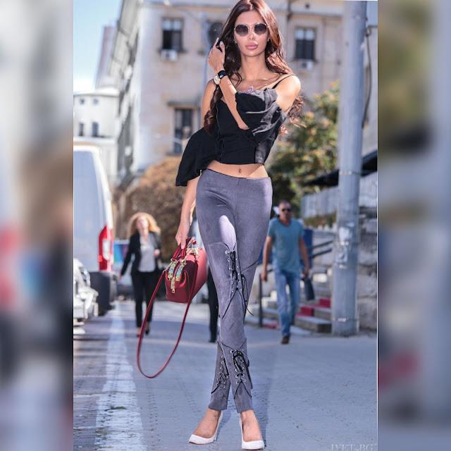 Γυναικείο ψηλόμεσο γκρι παντελόνι MAILA GREY