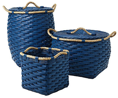 three rattan storage bins in cobalt blue