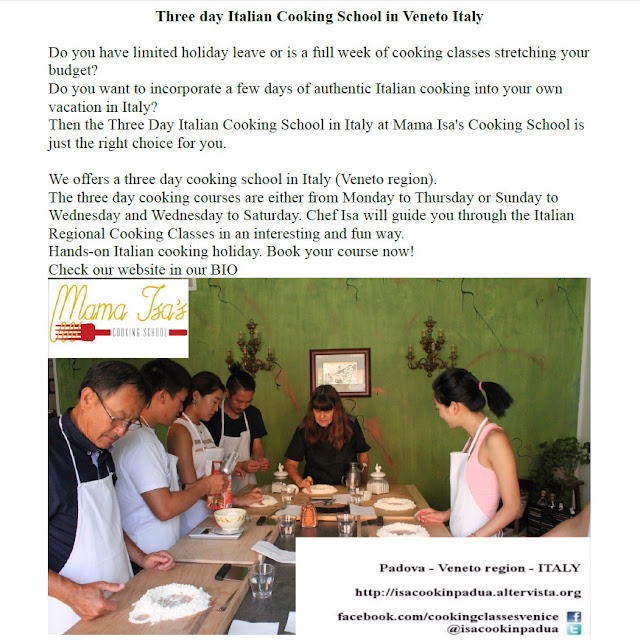 3 day cooking course with accomodation at Mama Isa's Cooking School in Italy near Venice
