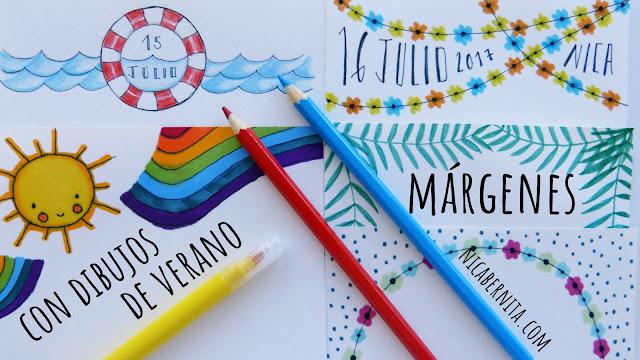 Bordes y márgenes para cuadernos y libretas con dibujos de verano (Nica Bernita)