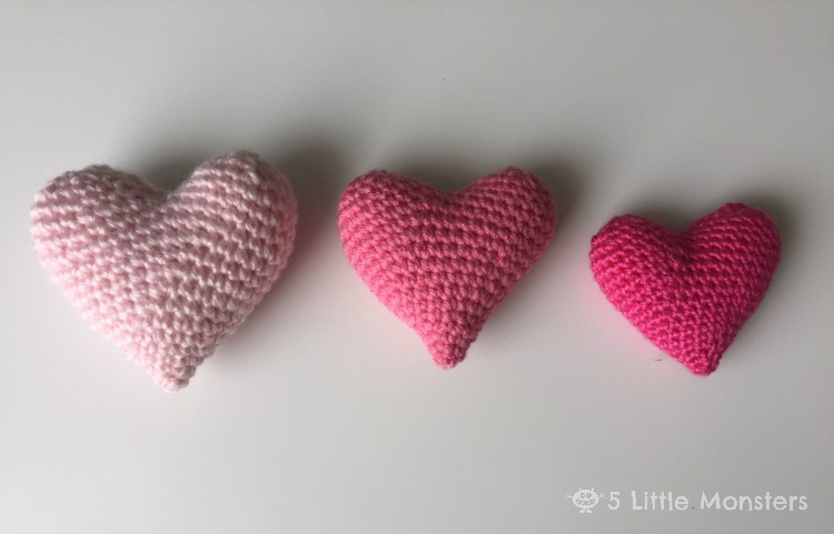 5 Little Monsters Crocheted Puffy Hearts