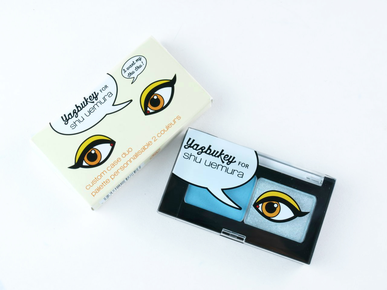 Yazbukey for Shu Uemura Custom Duo Eyeshadows & Dazzling Flare Tina False Lashes: Review and Swatches