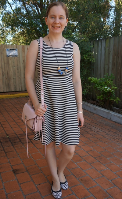 striped fit and flare dress with leopard print ballet flats, Rebecca Minkoff small darren bag | away from blue