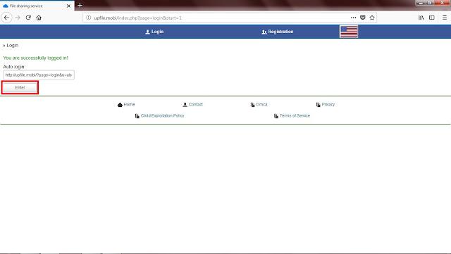 Setelah Sobat login, Sobat akan mendapatkan Link Auto Login.  Link ini berfungsi bagi Sobat yang ingin masuk ke akun Upfile tanpa harus memasukkan Username dan Password. Ok Sobat bisa langsung klik Enter.