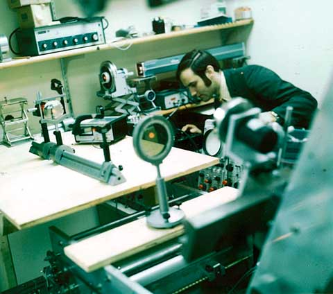 Peter Crean of Xerox assembling one of the first laser printers