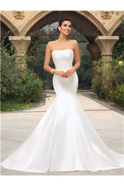 Alt+Strapless Trumpet Pearl Court Train Wedding Dress (11342019)