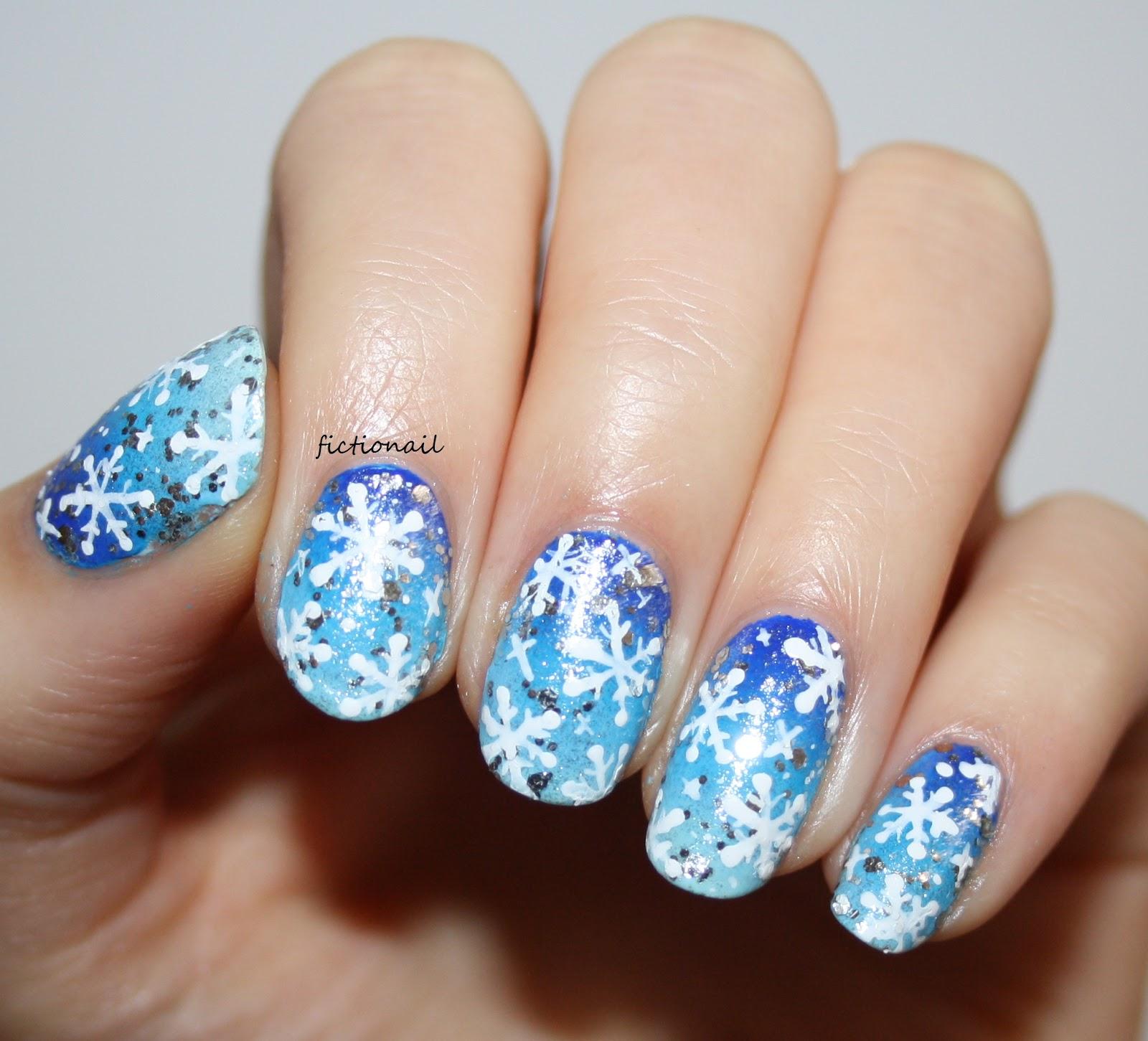 Festive Snowflake Nail Art