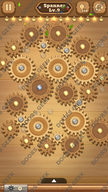 Fix it: Gear Puzzle [Spanner] Level 9 Solution, Cheats, Walkthrough for Android, iPhone, iPad and iPod