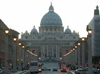 Piacentini's majestic Via della Conciliazione in Rome, with the Basilica of St Peter in the background