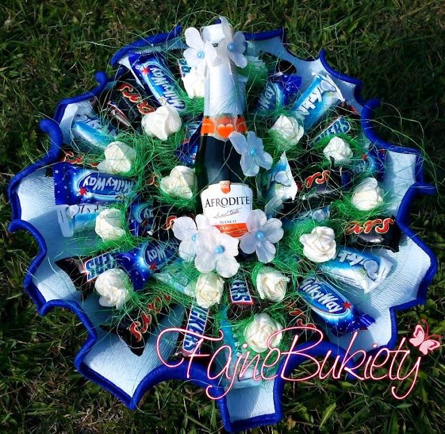 bukiet z buteleczkami alkoholu