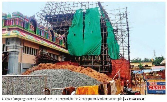 Work on base of rajagopuram of Samayapuram temple complete - Trichy News