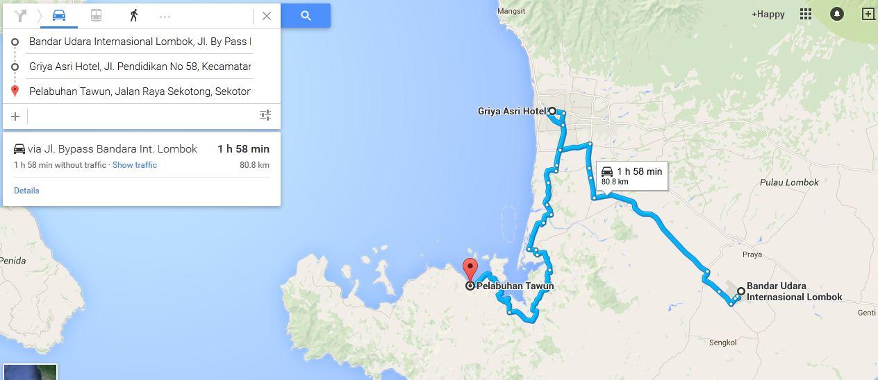 Estimasi waktu perjalanan : Bandara - Griya Asri Hotel - Pelabuhan Tawu
