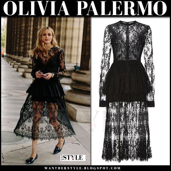 Olivia Palermo in black lace elie saab dress and black patent flats jimmy choo gabby what she wore
