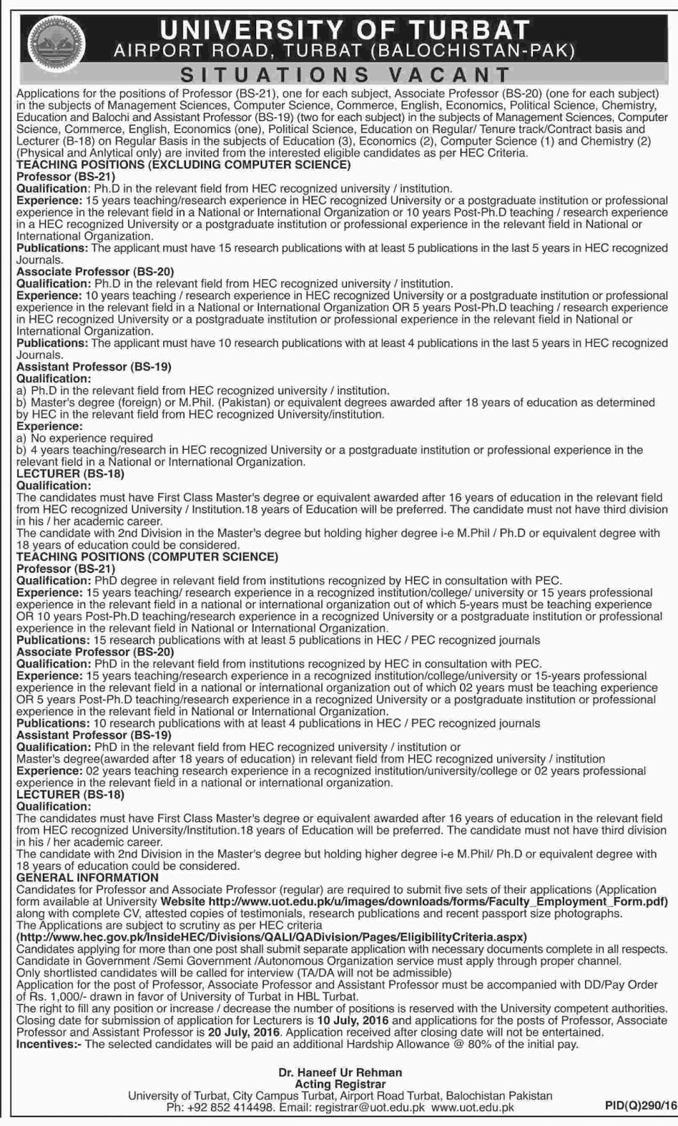Jobs in Pakistan for Teachers at University of Turbat