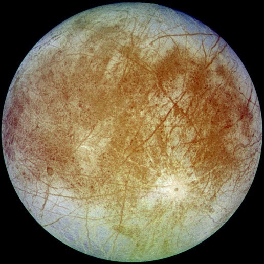 Image of Europa taken by the Galileo spacecraft from a distance of about 677,000 miles.