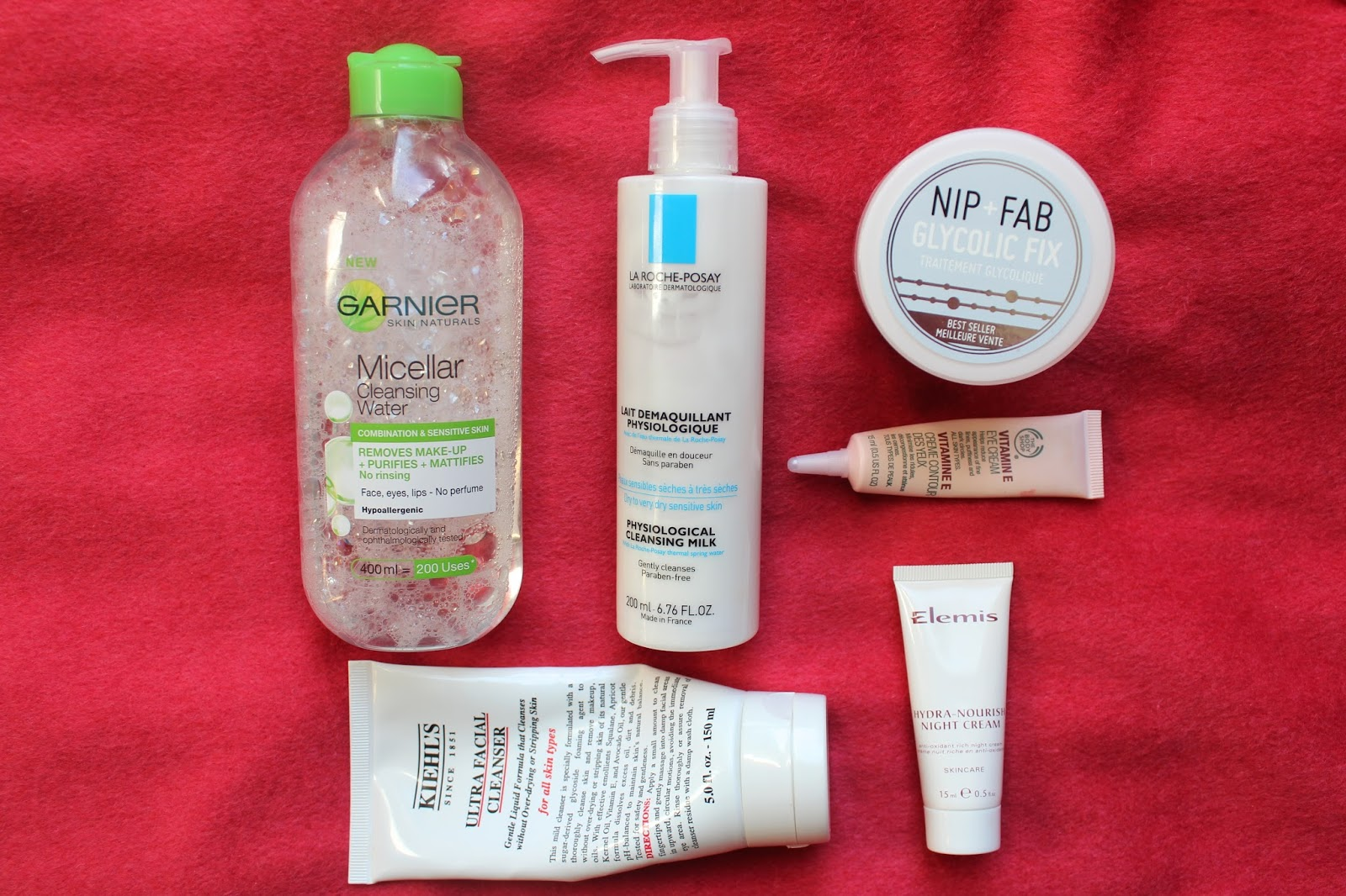 beauty bloggers skincare bblogger bbloggers garnier micellar water la roche posay physiological cleansing milk cleanser nip and fav glycolic fix pads faicial kiehl's ultra facial cleanser elemis ultra nourishing night cream the body shop vitamin e eye cream instagram kirstie pickering