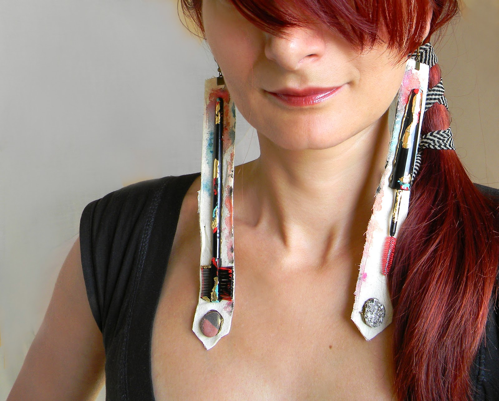 Statement Earrings Steampunk Couture Long Earrings