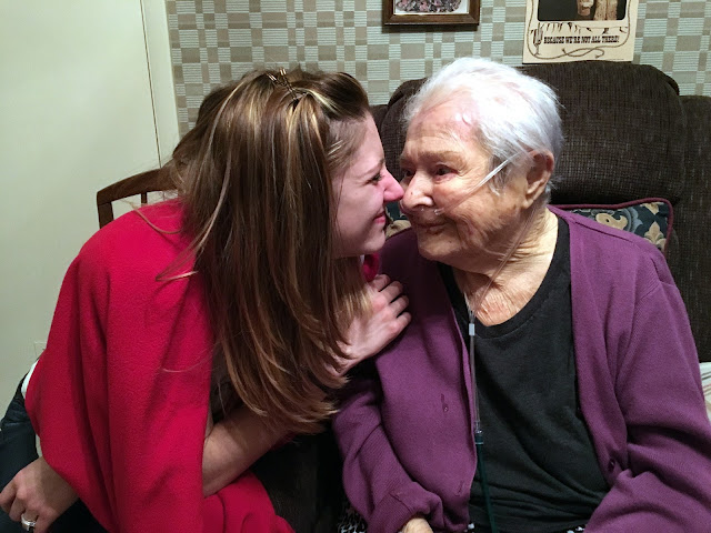 My sister, Caitlin, sharing a special moment with our Oma not long after she was admitted into at-home hospice care.  This was about a month prior to her death on February 11, 2016.