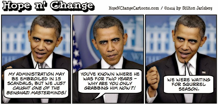obama, obama jokes, political, humor, cartoon, hope n' change, hope and change, stilton jarlsberg, conservative, benghazi, khatallah, scandals, squirrel