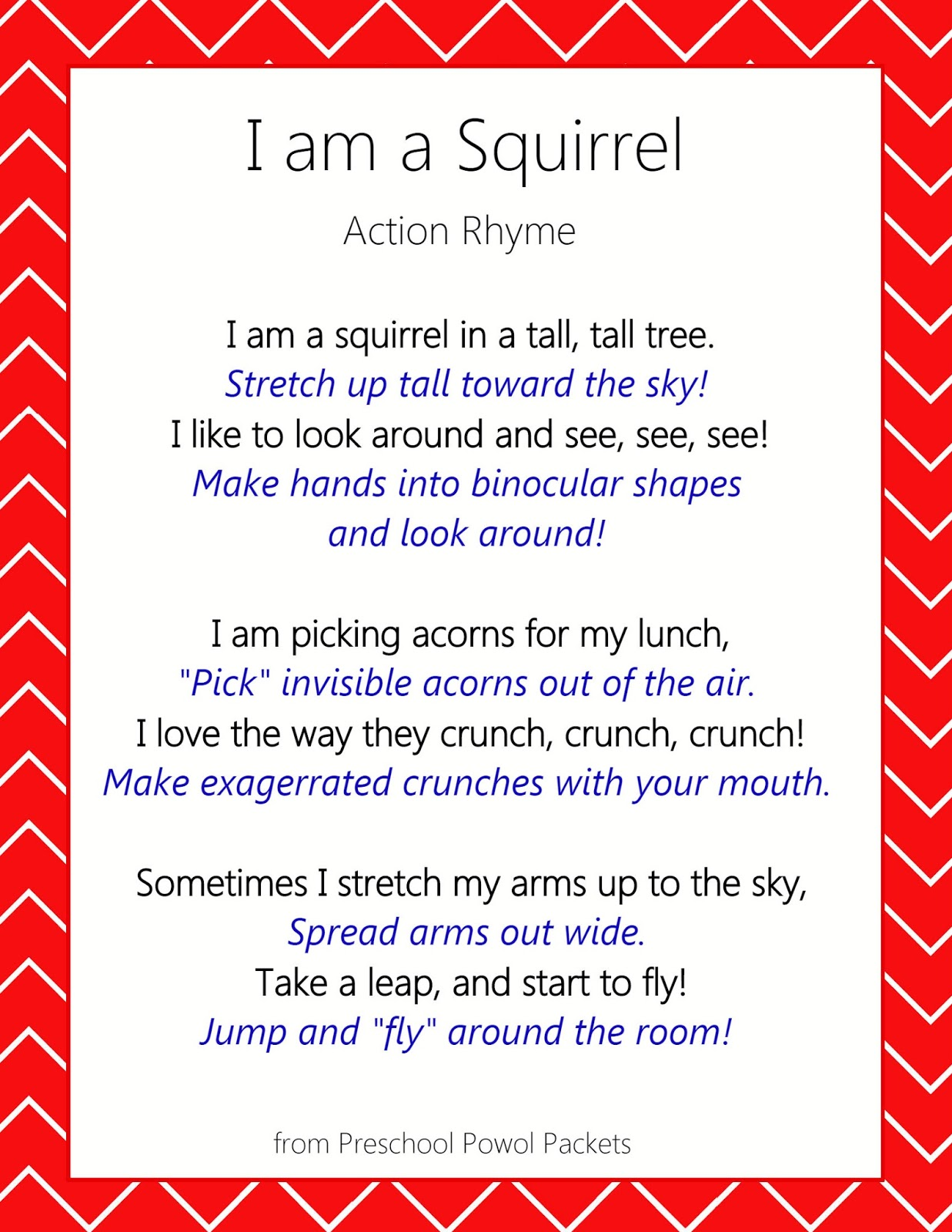 squirrel action rhyme rhymes for kids preschool powol packets