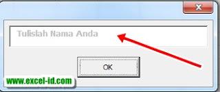 textbox default dengan excel