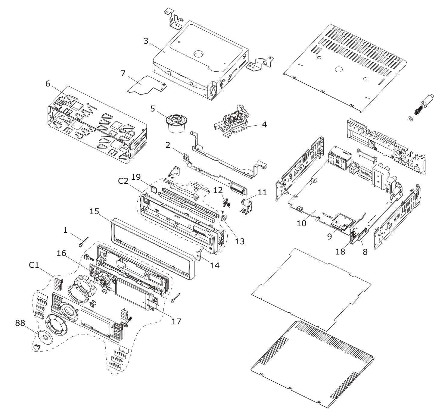 Philco PCA 530 Auto Radio schematic diagram, firmware