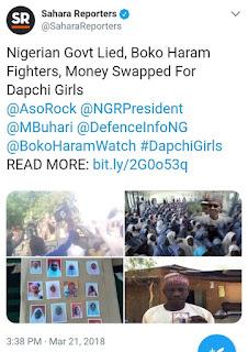Boko Haram Was Paid To Release Dapchi Girls, FG Lied