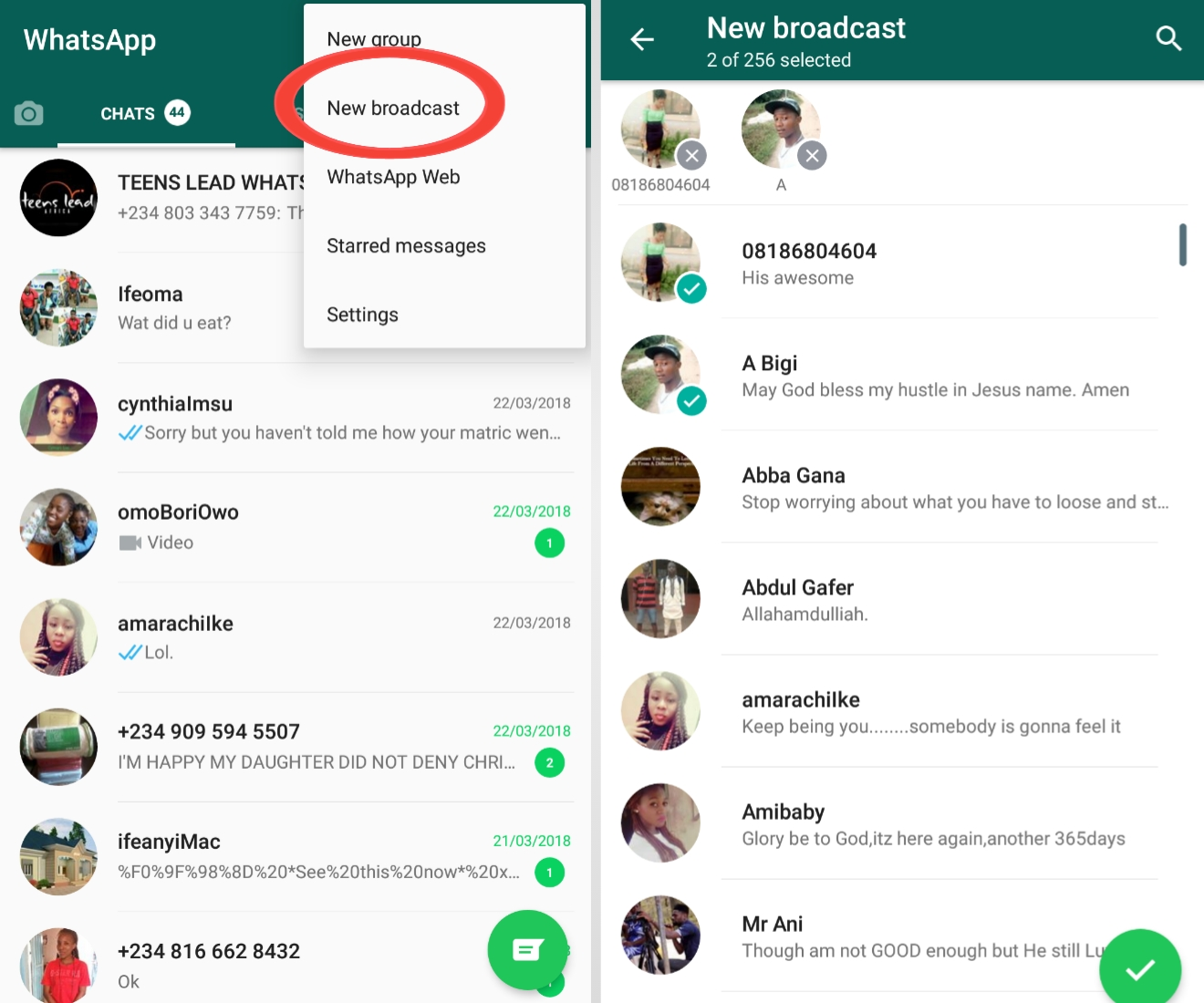 How to use the broadcast feature provided on WhatsApp