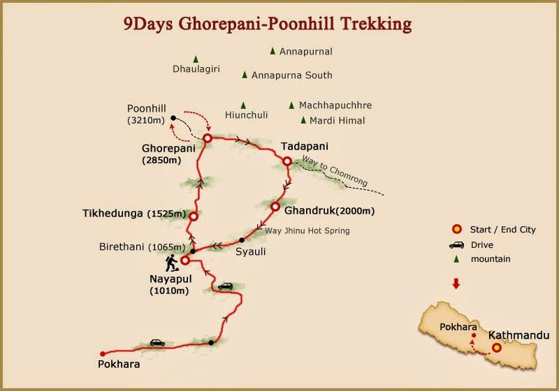 Annapurna ghorepani trekking map