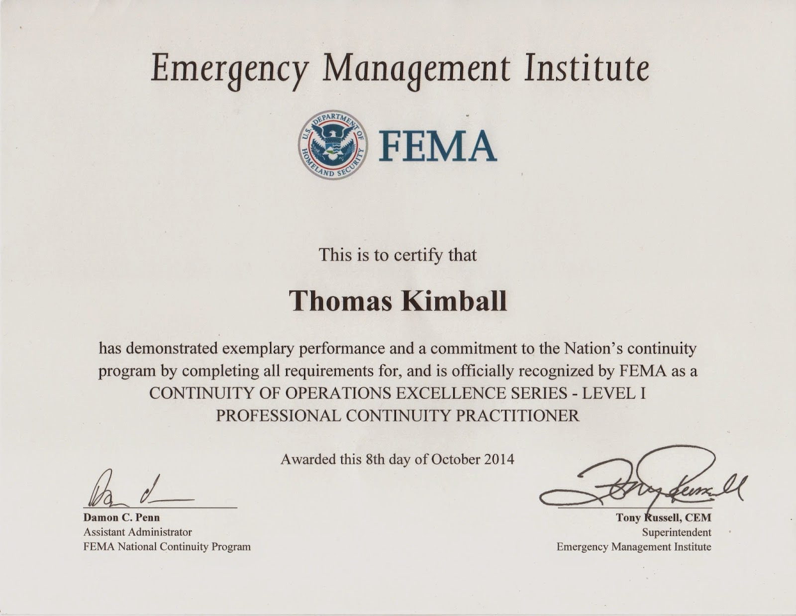 Thomas quick kimball wa8uns blog fema continuity of operations connecticut wanted to share fema continuity of operations excellence serieslevel 1 professional continuity practitioner certification 8th october xflitez Images