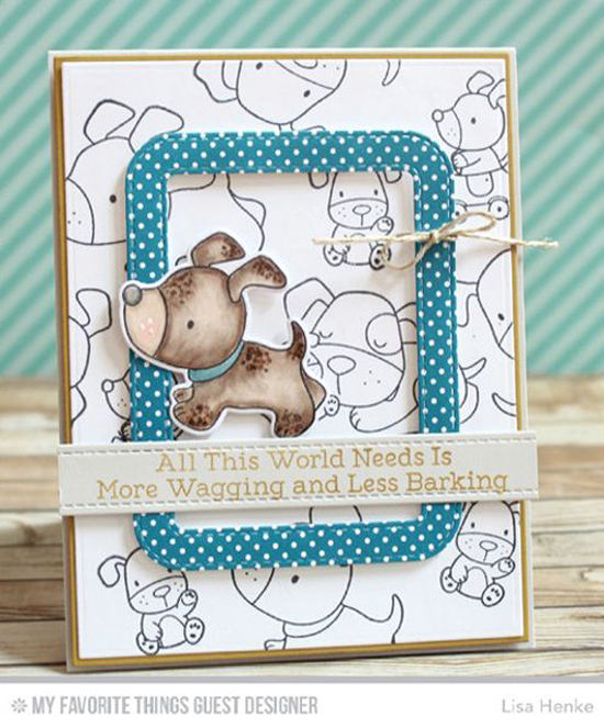 Handmade card from Lisa Henke featuring Playful Pups stamp set and Die-namics, Stitched Rounded Rectangle Frames, Blueprints 1, and Blueprints 2 Die-namics #mftstamps