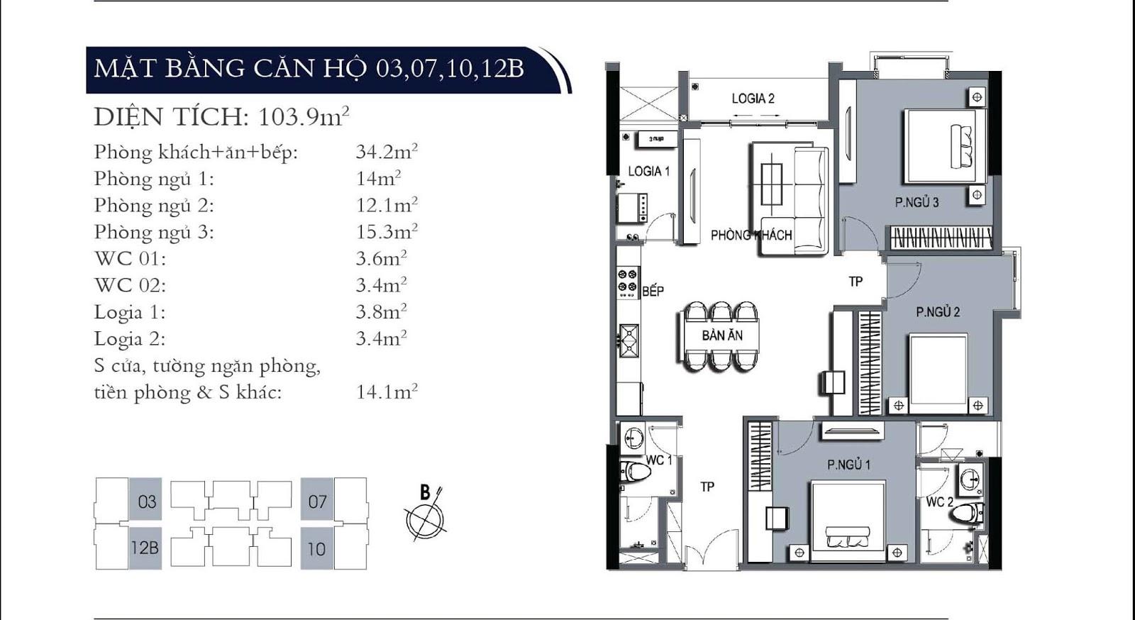 Mặt bằng căn hộ 03 07 10 12B dự án One 18 Ngọc Lâm