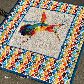 Hummingbird cross sittch wall hanging quilt