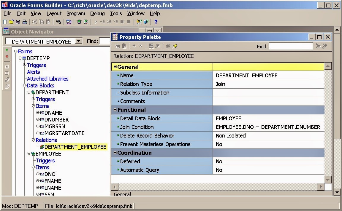 Oracle master details forms for beginners oracle foru sql pl there are several interesting properties in the relations property sheet baditri Choice Image