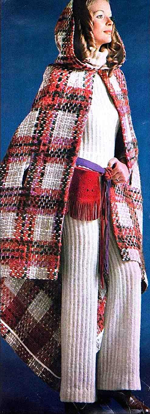 1970 Autumn knitwear photograph, odd clothes fashion