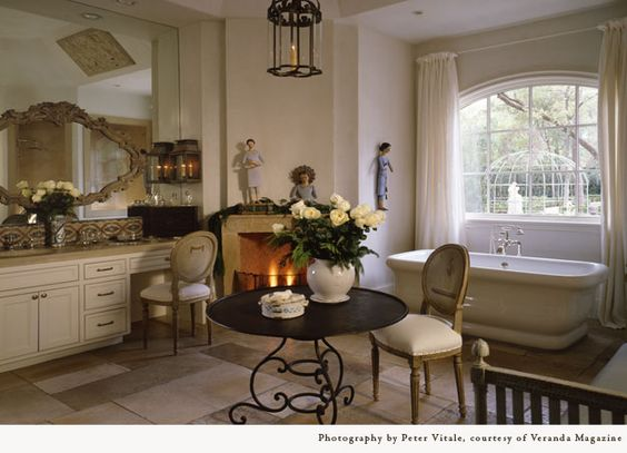 Pamela Pierce designed luxurious French country bathroom with freestanding tub.