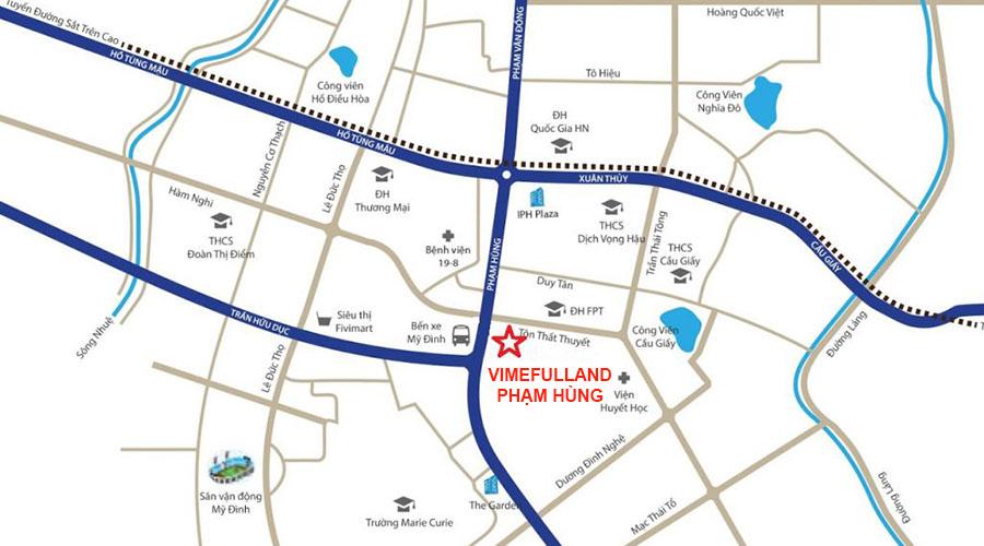 Vị trí Chung cư Vimefulland 17 Phạm Hùng