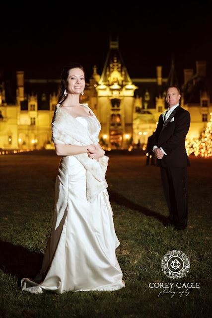 Bride and Groom at night at Biltmore House | Corey Cagle Photography