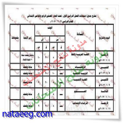 جدول إمتحانات نصف العام بمحافظة سوهاج (الترم الاول) 2017 بالمواعيد كامله