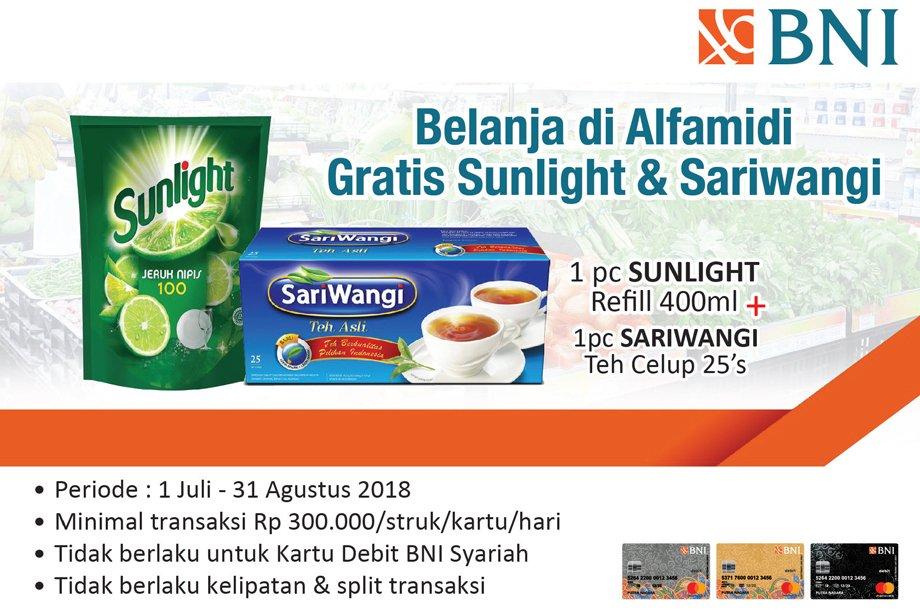 Alfamidi - Belanja Pakai BNI Min 300 Ribu Bonus Sunlight & Sariwangi