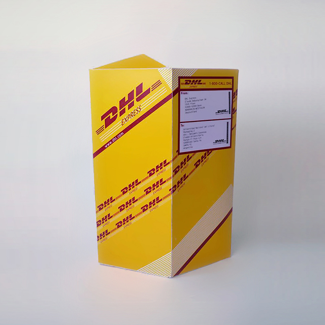 packaging DHL, diseño grafico