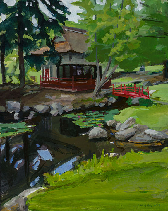 Painting of the tea house at the sonnenberg gardens in Canandaigua