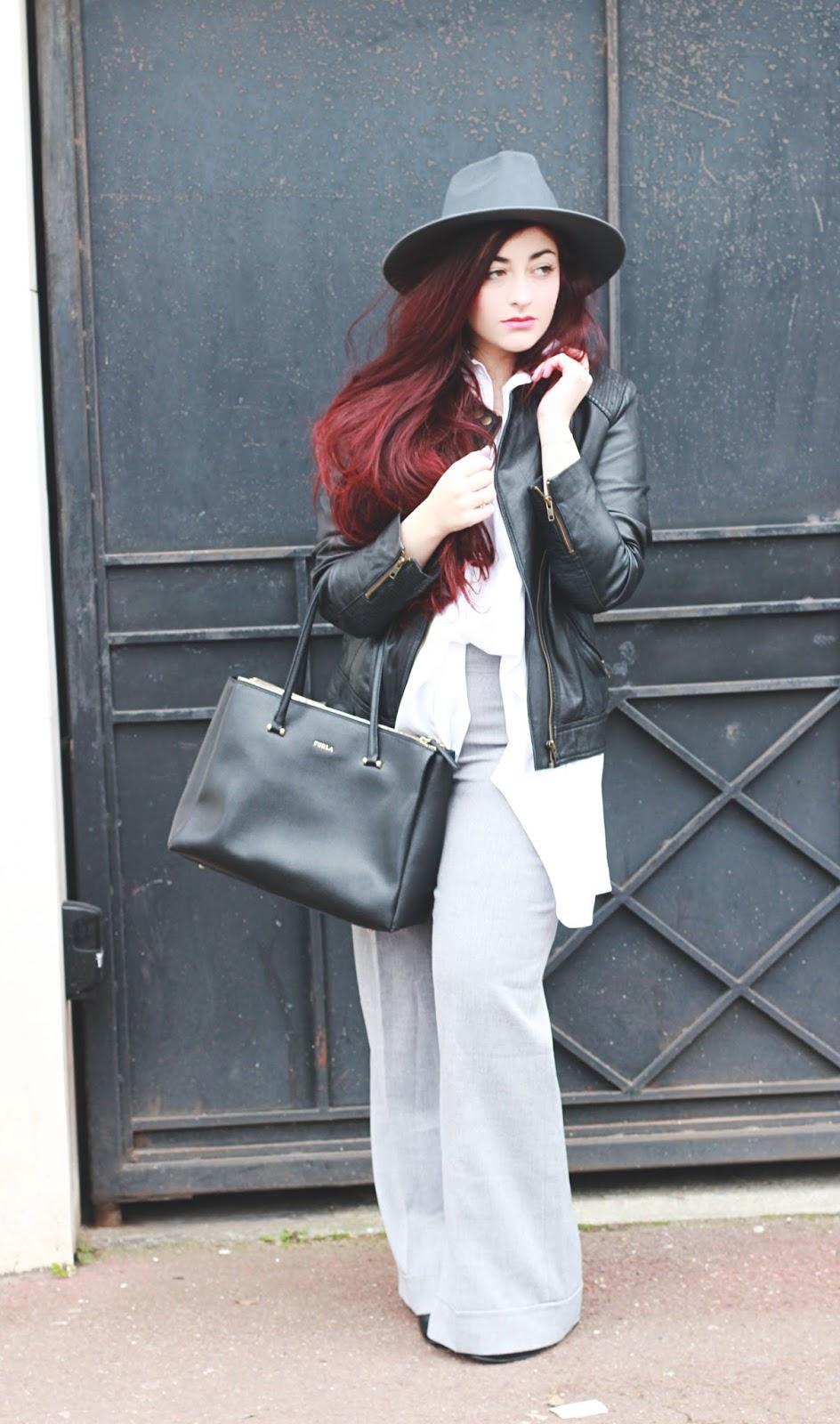 pantalon flare gris chemise longue